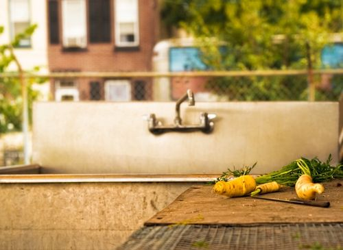 An outdoor sink for washing vegetables at Greensgrow