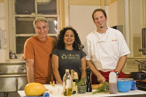 Joe, Patti and Chef Corbin Evans in the community kitchen